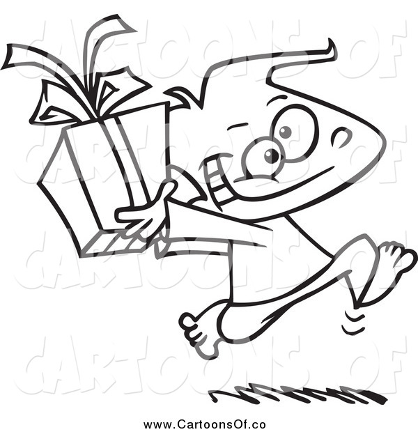 Vector Illustration of a Black and White Boy Running with a Gift Box