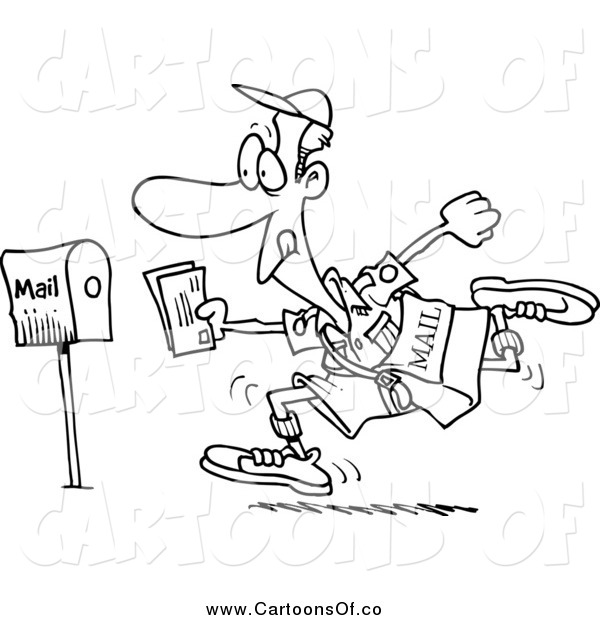 Vector Illustration of a Black and White Fast Post Man