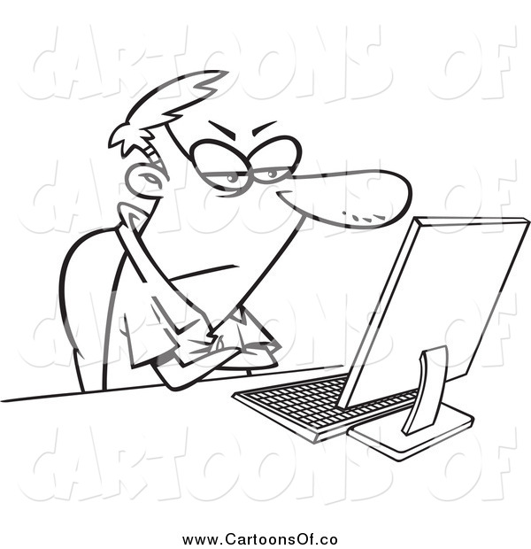 Vector Illustration of a Black and White Grumpy Man Sitting at His Computer Desk