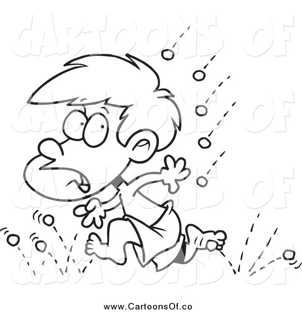 Vector Illustration of a Black and White Little Boy Running from Hail