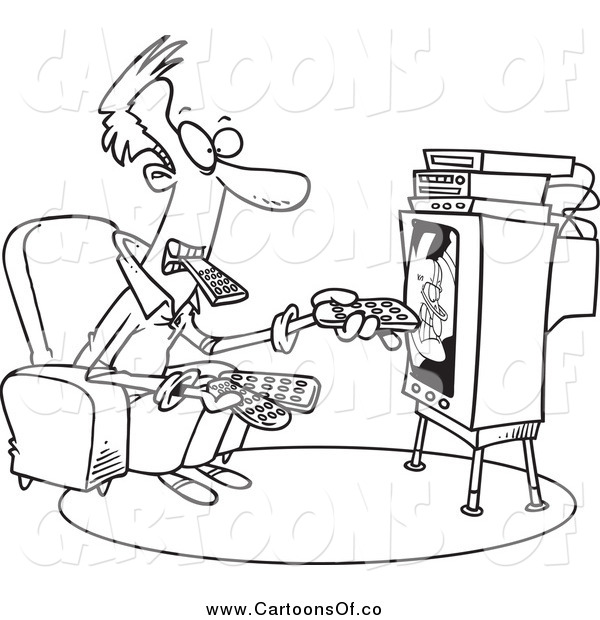 Vector Illustration of a Black and White Man Holding Many Remotes and Watching Tv