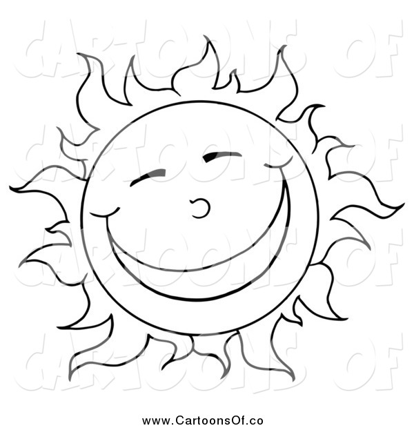 Vector Illustration of a Black and White Sun Smiling