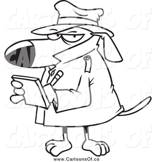 Vector Illustration of a Black and White Watch Dog Detective Taking Notes