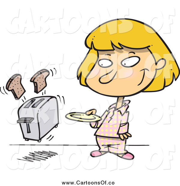 Vector Illustration of a Blond Girl and Toaster Popping out Bread