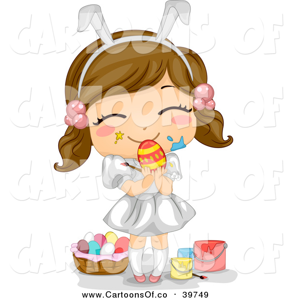 Vector Illustration of a Brunette White Easter Girl with Paint on Her Face, Holding an Egg