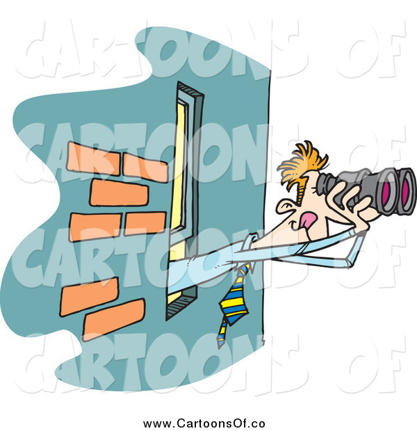 Vector Illustration of a Cartoon Businessman Using Binoculars at a Window