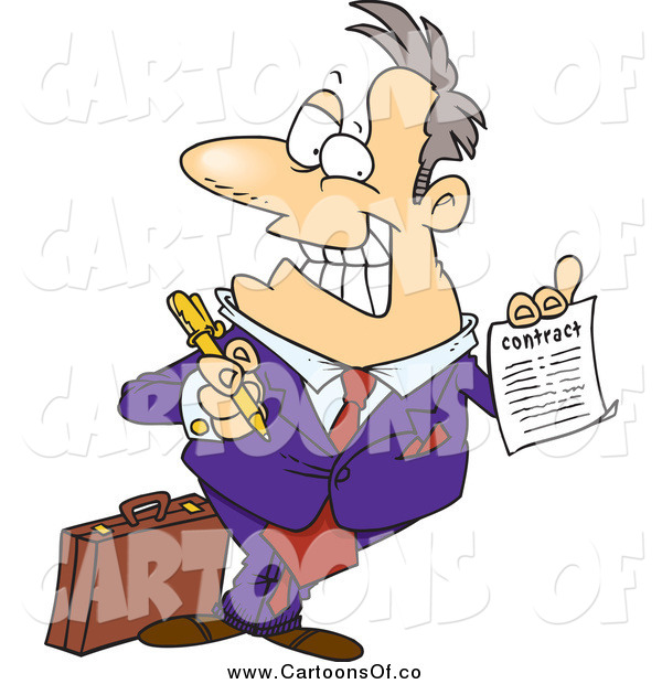 Vector Illustration of a Cartoon Caucasian Salesman Holding a Contract