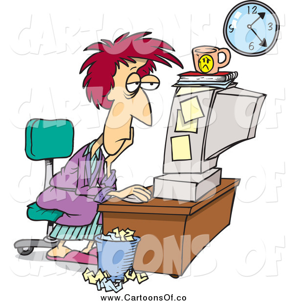 Vector Illustration of a Cartoon Exhausted Woman Trying to Meet Her Deadline