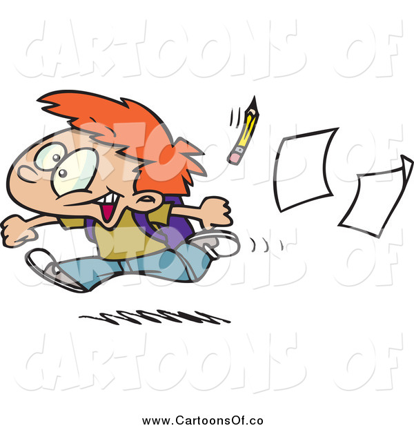 Vector Illustration of a Cartoon Red Haired Boy Running Home on the Last Day of School