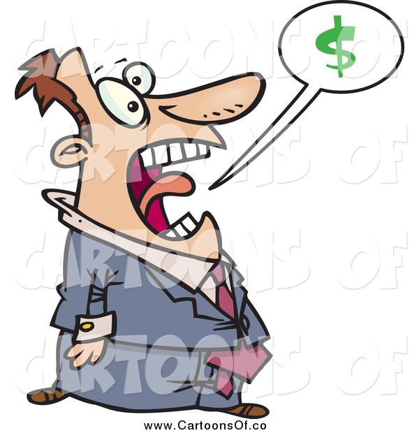 Vector Illustration of a Cartoon White Businessman Shouting About Money