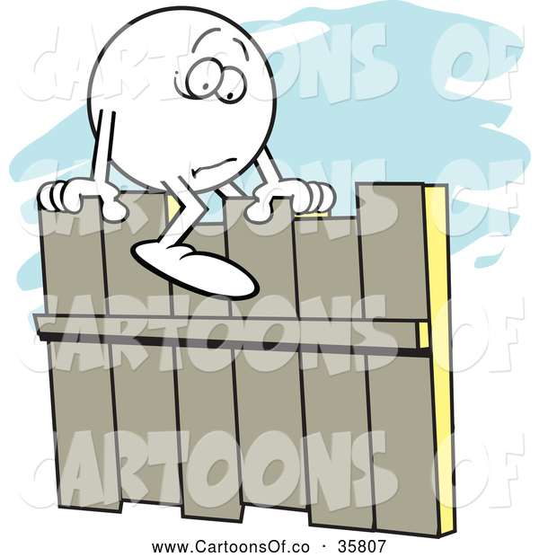 Vector Illustration of a Cartoonm Fearful Moodie Character Straddling a Fence