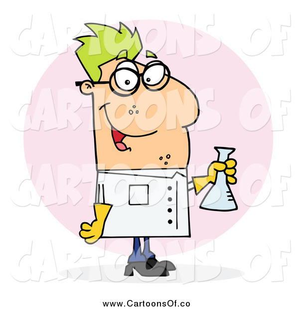 Vector Illustration of a Caucasian Green Haired Male Scientist Carrying a Flask