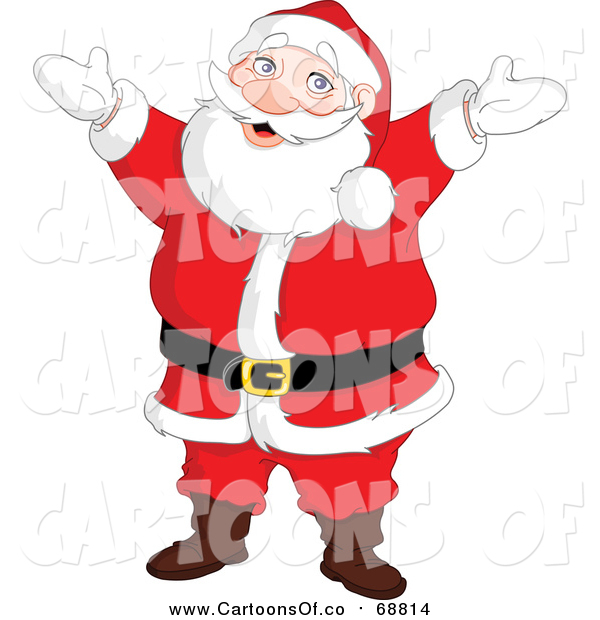 Vector Illustration of a Cheerful Santa Standing with His Arms Open