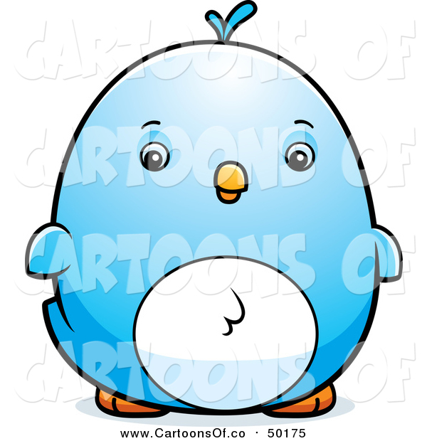 Vector Illustration of a Chubby Blue Bird Chick