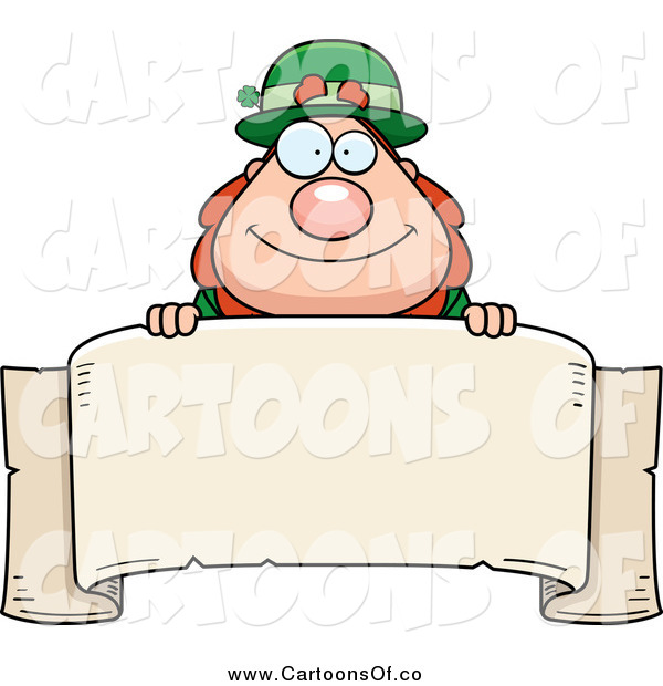 Vector Illustration of a Chubby Leprechaun Looking over a Blank Banner
