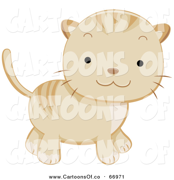 Vector Illustration of a Cute Beige Kitten