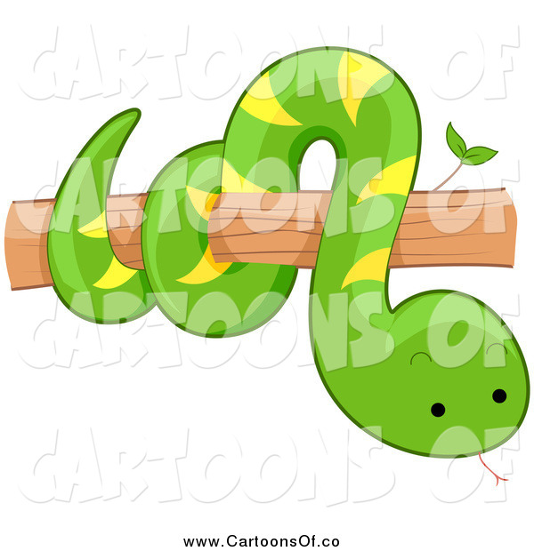Vector Illustration of a Cute Green Snake on a Tree Branch
