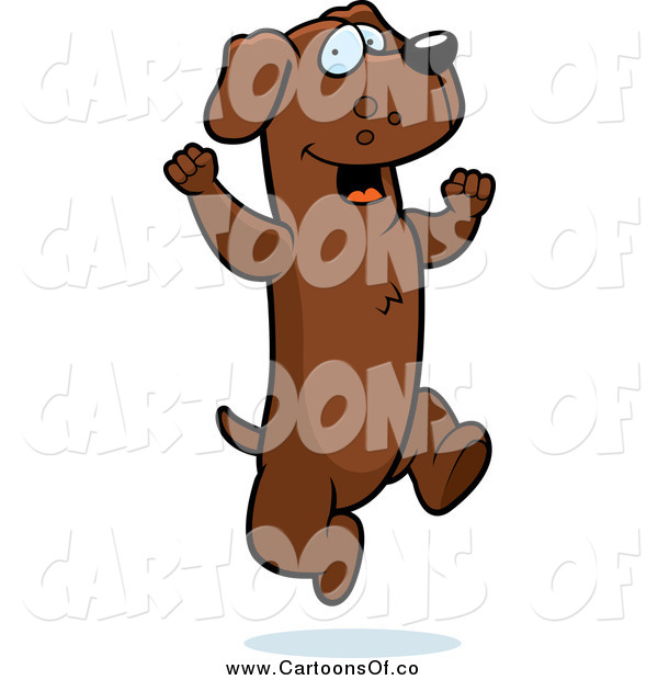 Vector Illustration of a Excited Brown Dachshund Dog Jumping