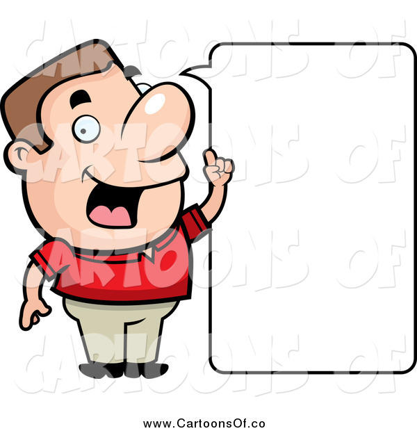 Vector Illustration of a Friendly White Guy Stating an Idea, with a Blank Word Box