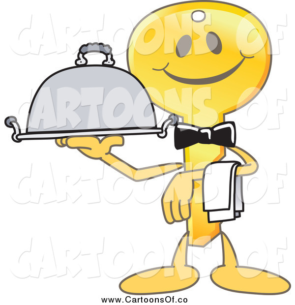 Vector Illustration of a Gold Key Mascot Waiter Serving a Platter