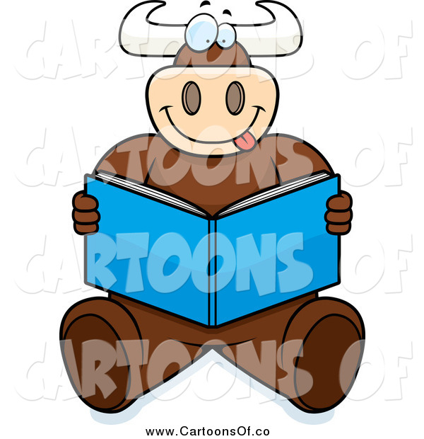 Vector Illustration of a Goofy Bull Sitting and Reading