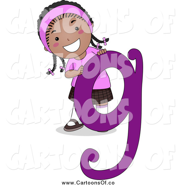 Vector Illustration of a Happy Black Girl with Letter G