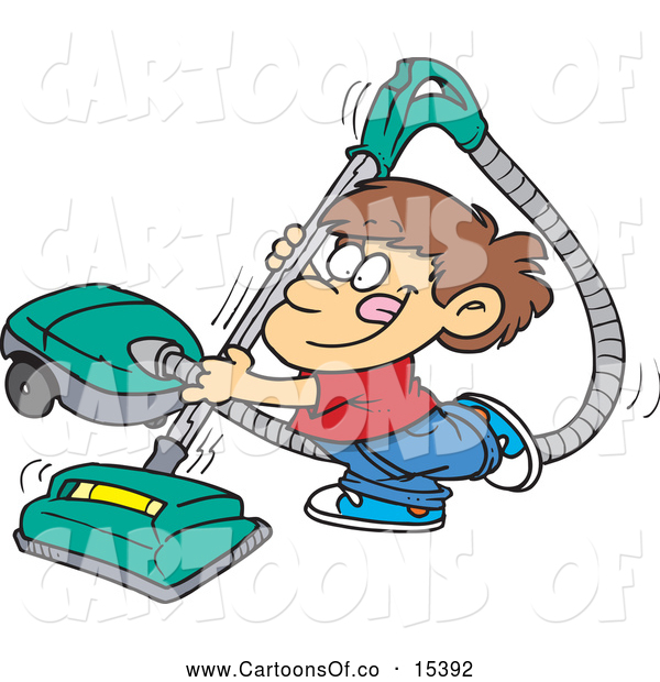 Vector Illustration of a Happy Brunette Boy Using a Vacuum