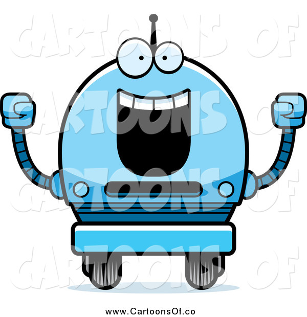Vector Illustration of a Happy Cheering Blue Robot Boy