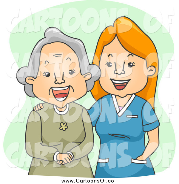 Vector Illustration of a Happy Female Geriatric Nurse Laughing with a Senior Woman