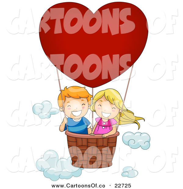 Vector Illustration of a Happy White Boy and Girl in a Valentine Hot Air Balloon