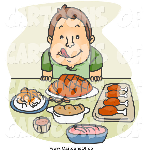 Vector Illustration of a Hungry White Boy Licking His Lips and Sitting Before a Feast