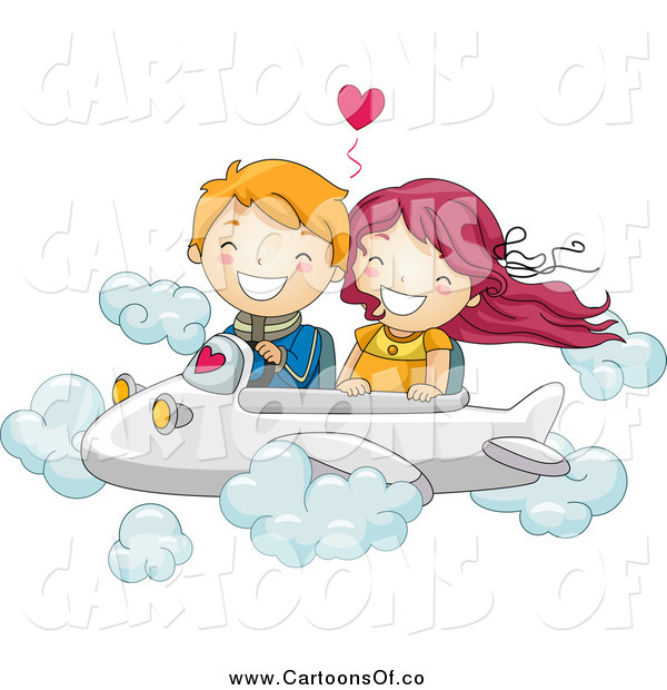 Vector Illustration of a Kid Couple Flying an Airplane