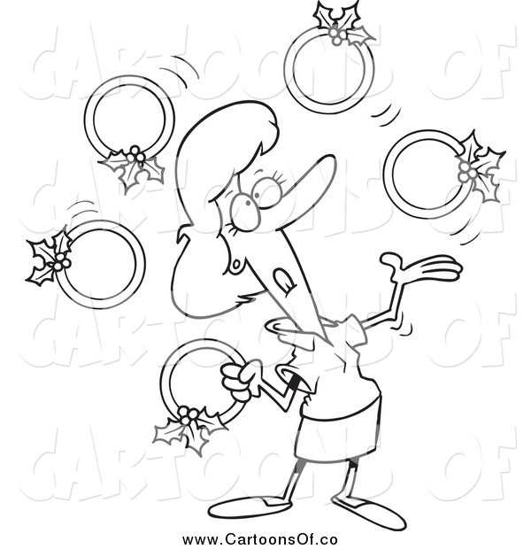 Vector Illustration of a Lineart Christmas Woman Juggling Five Golden Rings