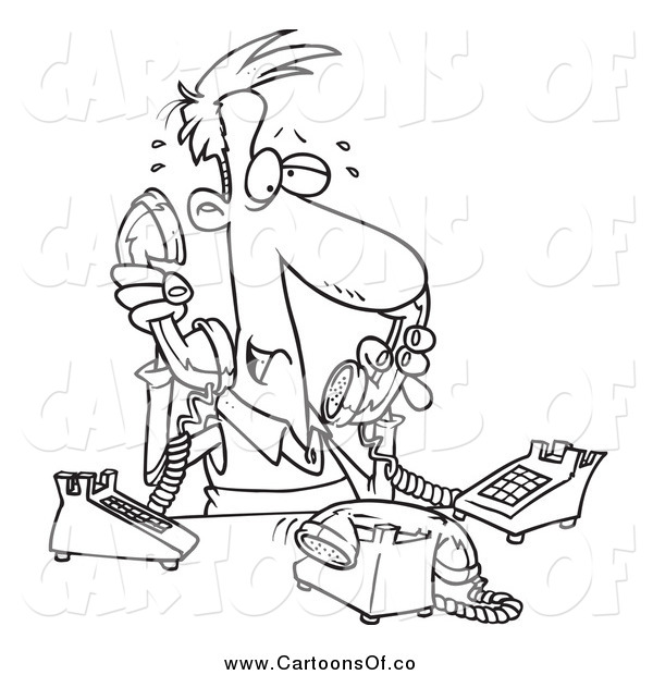 Vector Illustration of a Lineart Male Telemarketer Handling Multiple Lines