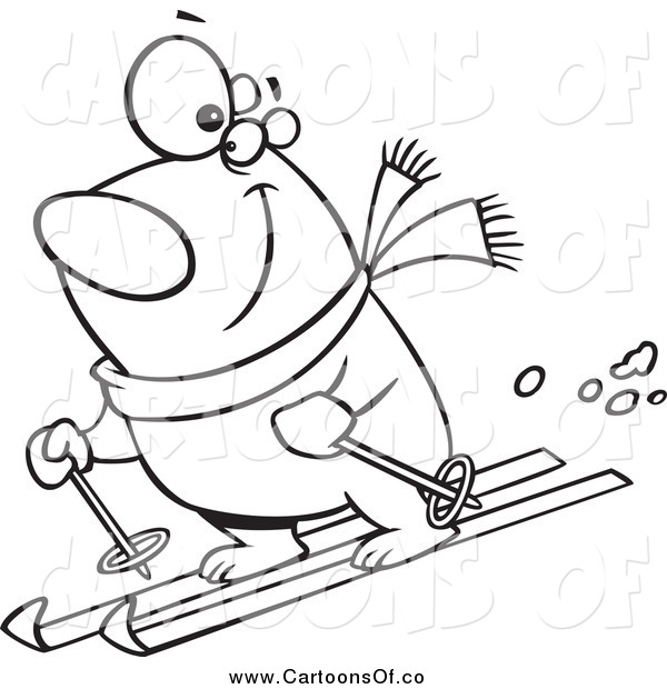 Vector Illustration of a Lineart Skiing Polar Bear