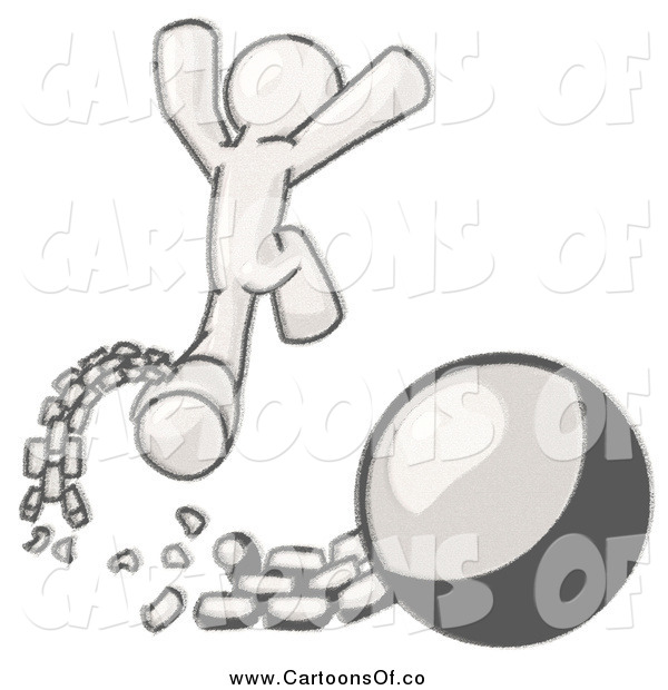 Vector Illustration of a Man Jumping for Joy After Breaking Free from the Ball and Chain