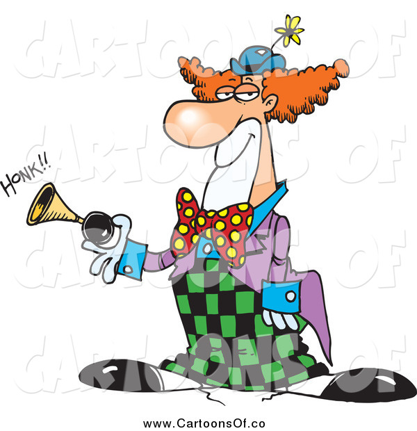 Vector Illustration of a Party Clown Honking a Horn