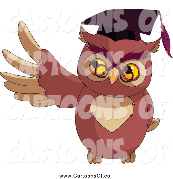 Vector Illustration of a Presenting Professor Owl Wearing a Mortar Board