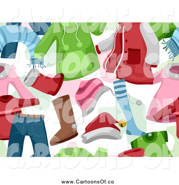 Vector Illustration of a Seamless Background of Children's Christmas Clothing