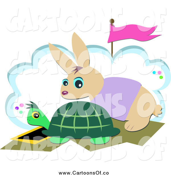 Vector Illustration of a Tortoise and Hare at a Start Line