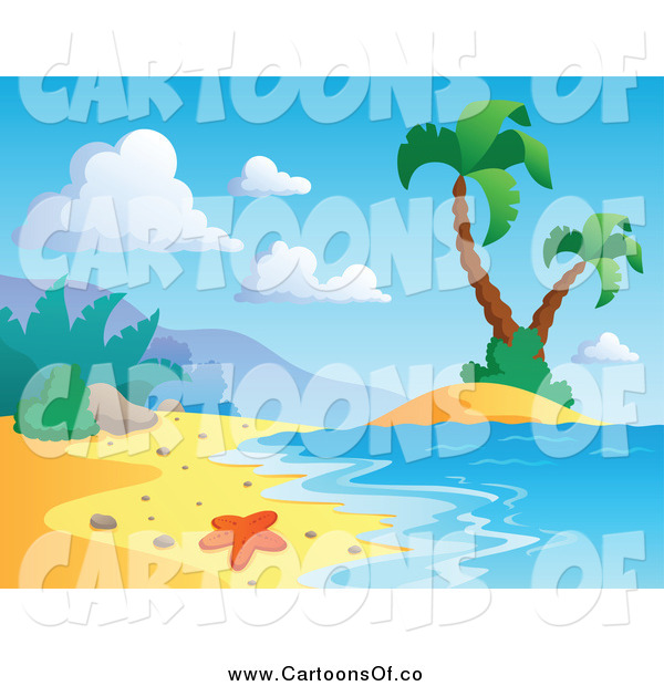 Vector Illustration of a Tropical Beach with a Starfish Surf and Palm Trees