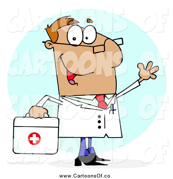 Vector Illustration of a White Cartoon Doctor Man Carrying His First Aid Bag
