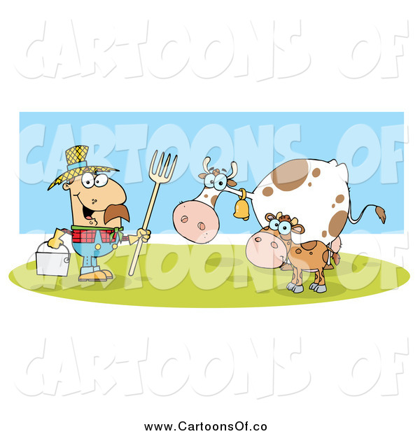 Vector Illustration of a White Male Farmer with His Cattle