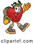 Cartoon Illustration of a Cheerful Red Apple Character Mascot Hiking and Carrying a Backpack by Toons4Biz