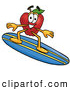 Cartoon Illustration of a Cheerful Red Apple Character Mascot Surfing on a Blue and Yellow Surfboard by Toons4Biz