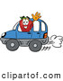 Cartoon Illustration of a Cheerful Red Apple Character Mascot Waving While Driving by in a Blue Car by Toons4Biz
