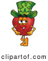 Cartoon Illustration of a Cheerful Red Apple Character Mascot Wearing a Green Paddy by Toons4Biz