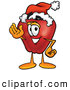 Cartoon Illustration of a Festive Red Apple Character Mascot Wearing a Santa Hat and Waving by Toons4Biz