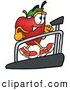 Cartoon Illustration of a Friendly Red Apple Character Mascot Walking on a Treadmill in a Fitness Gym by Toons4Biz