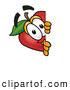 Cartoon Illustration of a Grinning Red Apple Character Mascot Peeking Around a Corner and Spying on Someone by Toons4Biz